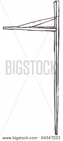 Vector illustration of a telephone pole