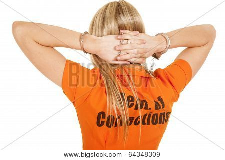 Prisoner Orange Back Hands Behind Head