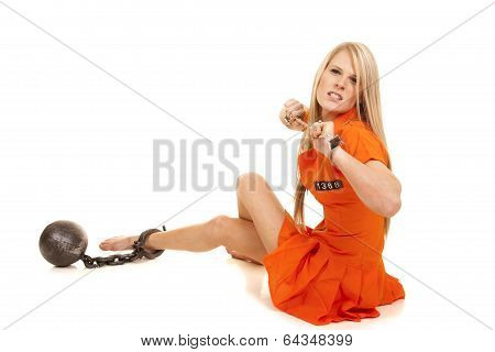 Prisoner Orange Ball Cuffs Sit Mad