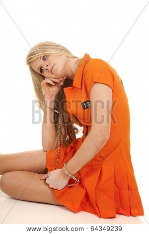 Prisoner Orange Handcuffs Sit Hand Cheek