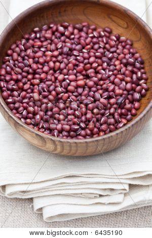 Adzuki Beans In A Wooden Bowl