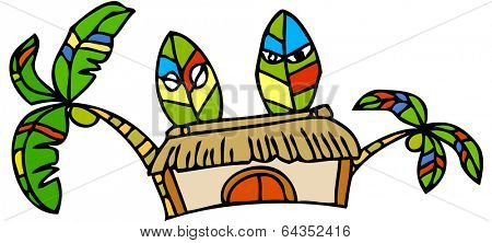 Vector illustration of a primitive house