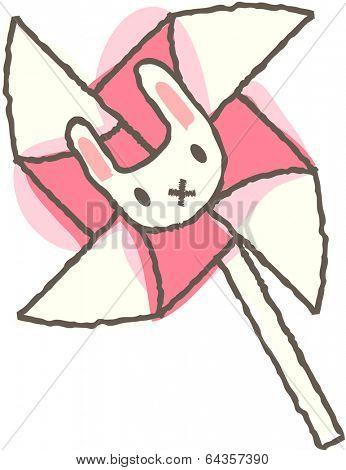 Vector illustration of pinwheel with bunnyhead