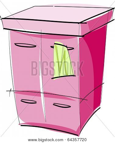 Vector illustration of a chest of drawers