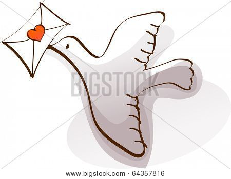 Vector illustration of a messenger pigeon
