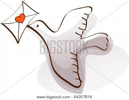 Vector illustration of a messenger pigeon
