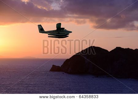 Seaplane Over Exotic Island