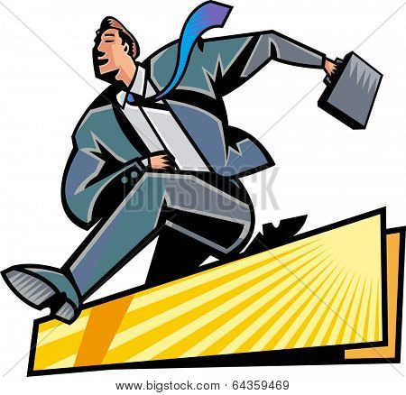 The businessman is jumping hurdles