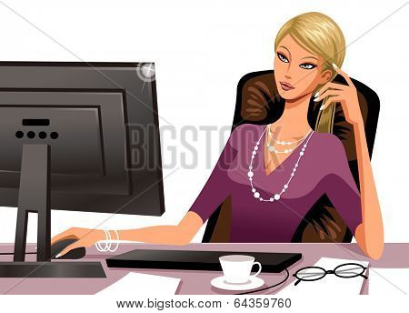 The woman is working at the computer