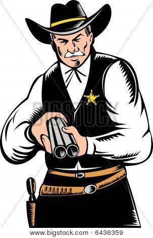 sheriff aiming shotgun