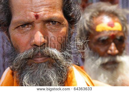 Vijayawada, India -June 09: Holy Sadhu men with traditional painted face, at Kanakadurga temple in Vijayawada, India on June 09, 2009.
