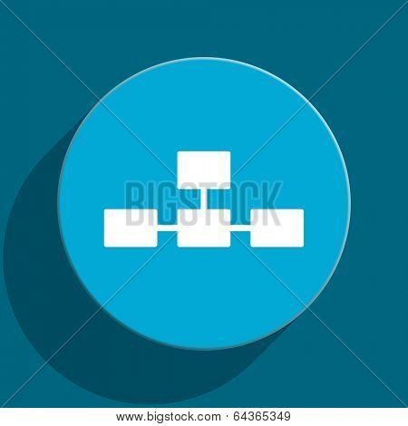 database blue flat web icon