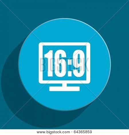 16 9 display blue flat web icon