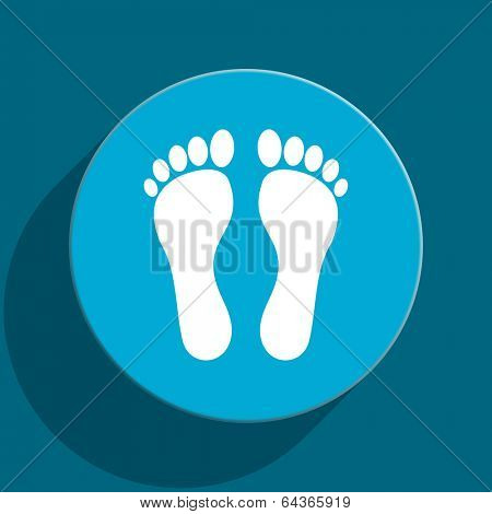 foot blue flat web icon