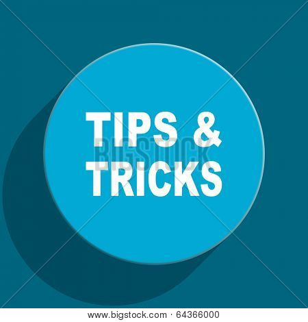 tips tricks blue flat web icon