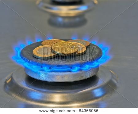 Euro Coins In Blue Flames From Burner