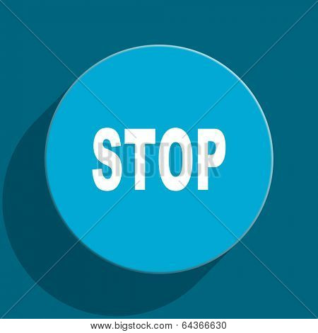 stop blue flat web icon