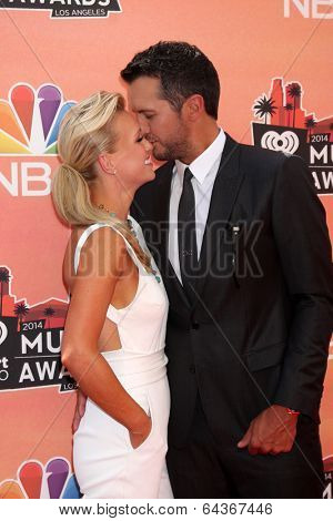 LOS ANGELES - MAY 1:  Luke Bryan, Caroline Boyer at the 1st iHeartRadio Music Awards at Shrine Auditorium on May 1, 2014 in Los Angeles, CA
