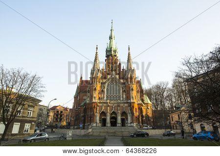 KRAKOW, POLAND - MAR 11, 2014: Church Joseph - a historic Roman Catholic church in south-central part of Krakow. Was built 1905-1909 y and designed by Jana Sas-Zubrzyckiego.