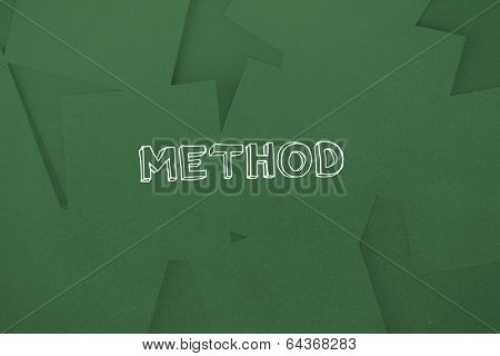 The word method against digitally generated green paper strewn