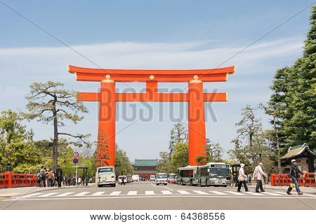 OSAKA - April 19 : Big red torii in Heian Jingu Shrine on April 19, 2014 in Kyoto, Japan. The torii is one of the biggest gate in Japan.