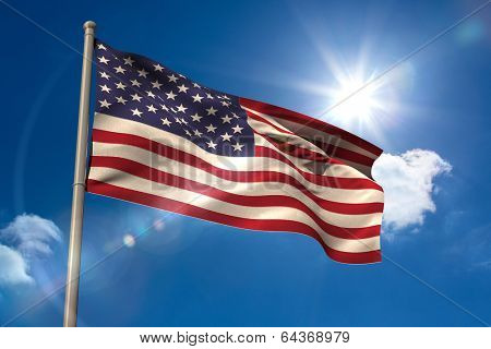 United states of america national flag on blue sky background