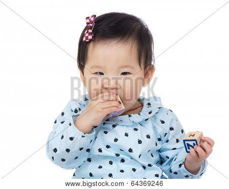 Little girl with teething