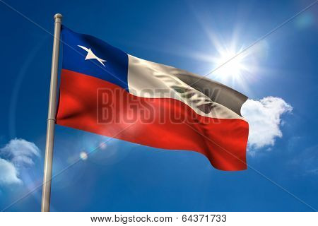 Chile national flag on flagpole on blue sky background