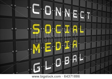 Social media buzzwords on digitally generated black mechanical board