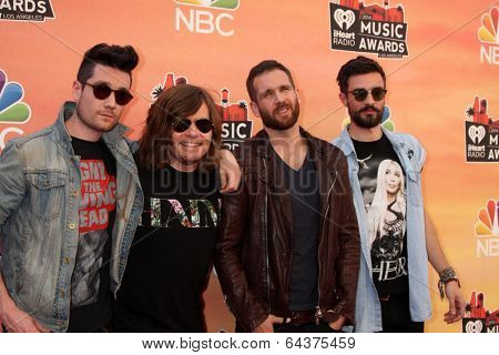 LOS ANGELES - MAY 1:  Dan Smith, Chris Wood, Will Farquarson, Kyle Simmons, Bastille at the 1st iHeartRadio Music Awards at Shrine Auditorium on May 1, 2014 in Los Angeles, CA
