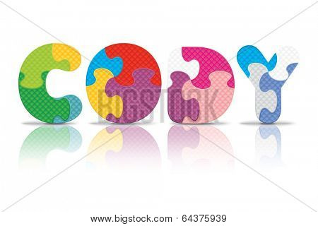 CODY written with alphabet puzzle - vector illustration