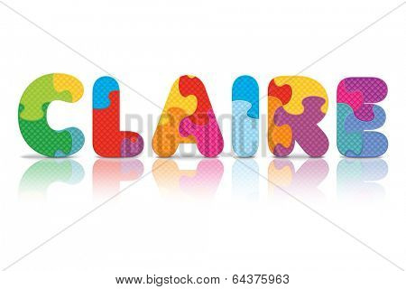 CLAIRE written with alphabet puzzle - vector illustration