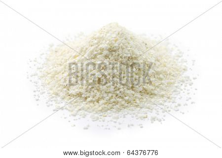 a pile of white corn grits, southern food