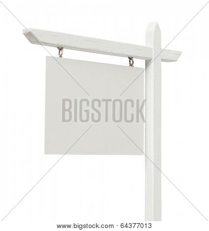 Blank Real Estate Sign Isolated on a White Background with Clipping Path.