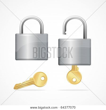 Vector locked and unlocked padlock gold