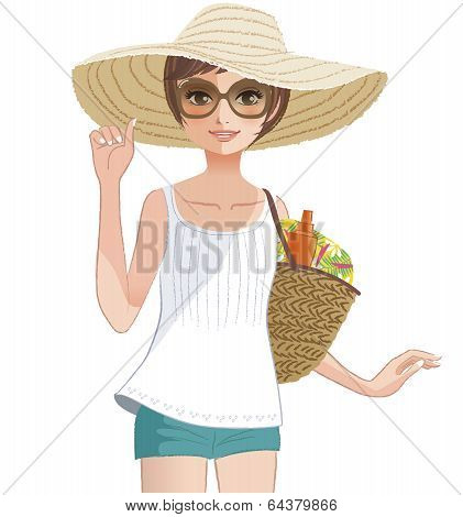 Pretty Girl Wearing A Wide Brimmed Straw Hat.