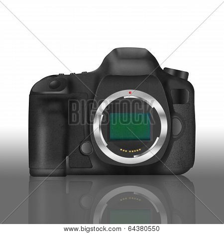 Paper Cut Of Black Slr Digital Camera Isolated Is Body Icon For Professional Photography Technology