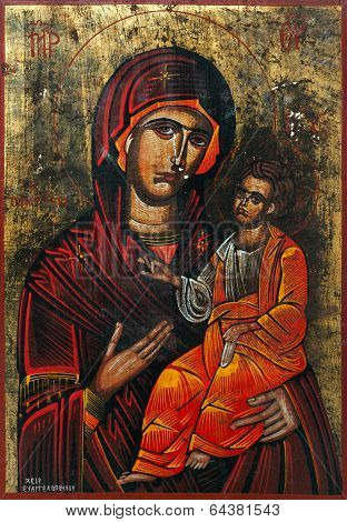 Virgin Mary Holding The Child Jesus Eastern Orthodox Icon