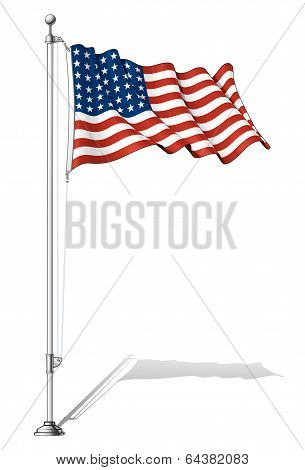 Flag Pole Us Flag Wwi-wwii (48 Stars)