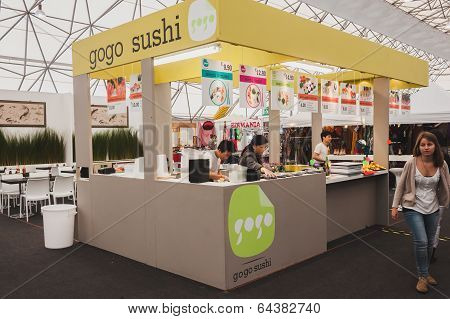 Sushi Kiosk At Orient Festival In Milan, Italy