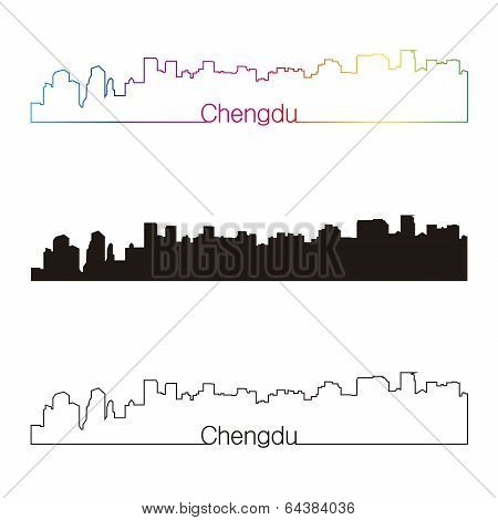 Chengdu Skyline Linear Style With Rainbow