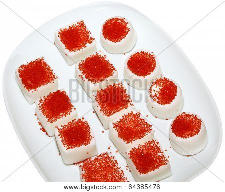 Small White Sweet Glazed Cakes Isolated with Clipping Path