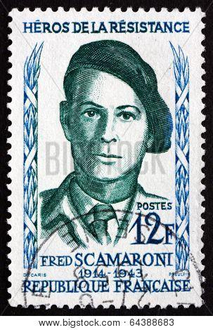Postage Stamp France 1958 Fred Scamaroni, Hero