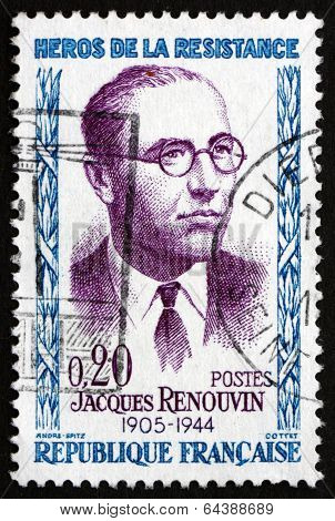 Postage stamp France 1958 Jacques Renouvin, Hero