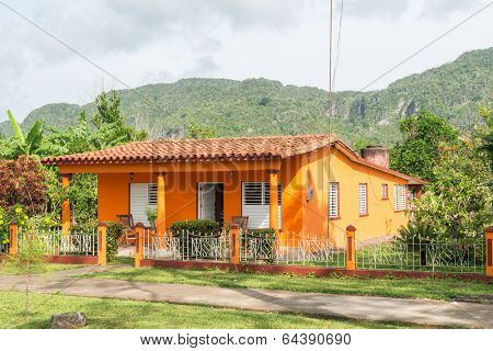 Colorful house at the rural town of Vinales in Cuba