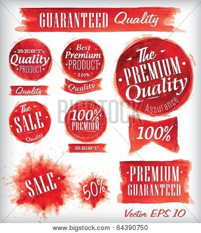 Set of watercolor Old Premium Quality Badges in red