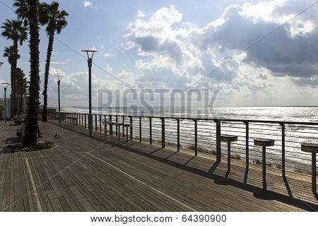 Wooden promenade in Bat-Yam