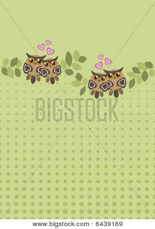 Seamless Owls on Branches Background