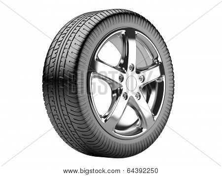 Car Wheel Isolated On A White Background