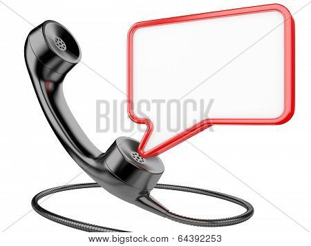 Handset Icon With Chat Bubble